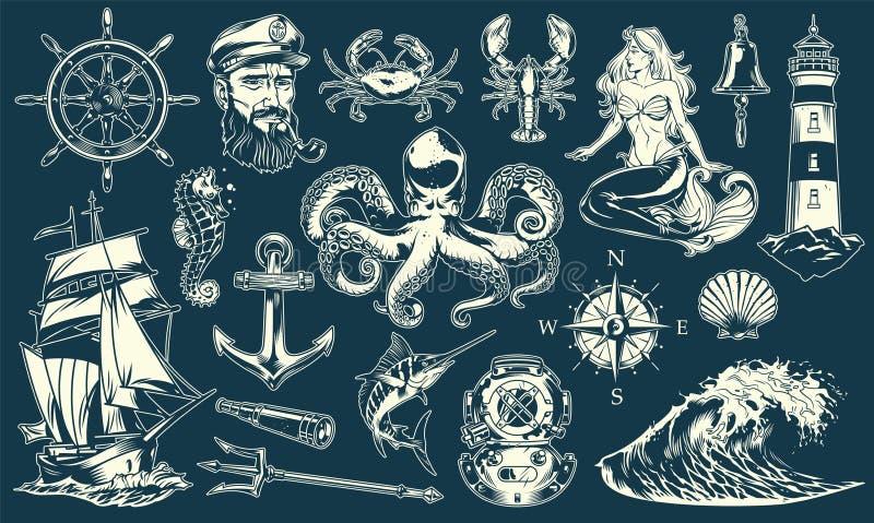 Uitstekende maritieme en zeevaartelementeninzameling stock illustratie