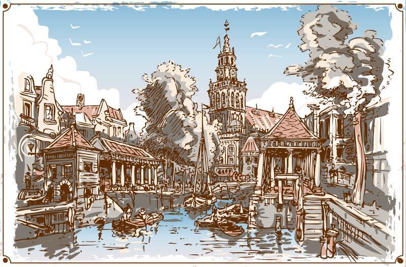 Uitstekende Mening van het Kanaal van de Vissenmarkt in Gouda, Nederland stock illustratie
