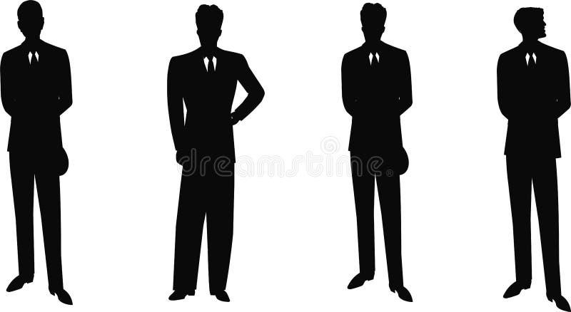 Uitstekende mensen in kostuumssilhouet royalty-vrije illustratie