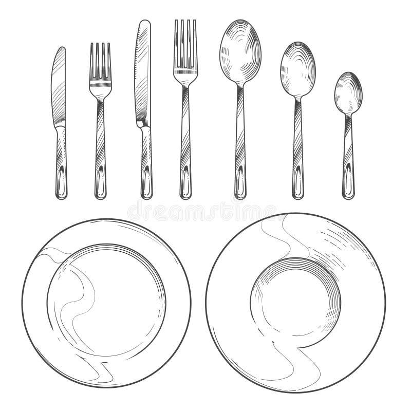 Uitstekende mes, vork, lepel en schotels in de stijl van de schetsgravure Het vaatwerk van de handtekening isoleerde vectorreeks royalty-vrije illustratie