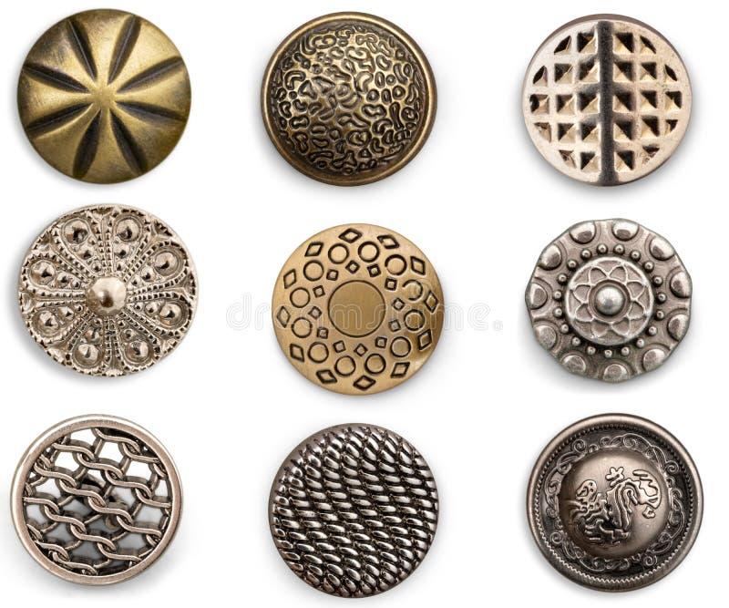 Uitstekende metaal het naaien knopeninzameling stock afbeeldingen