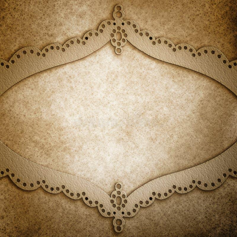 Uitstekende metaalillustratie als achtergrond met gelaagd geslagen het ontwerpkader van het metaalkant royalty-vrije illustratie