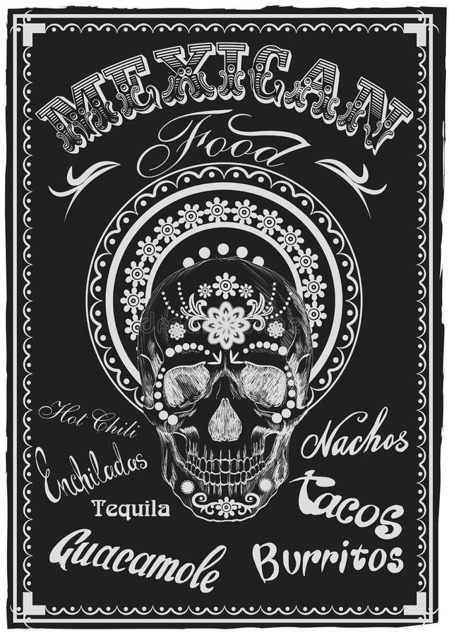 Uitstekende Mexicaanse Voedselaffiche Schedel Muerto Vector stock illustratie