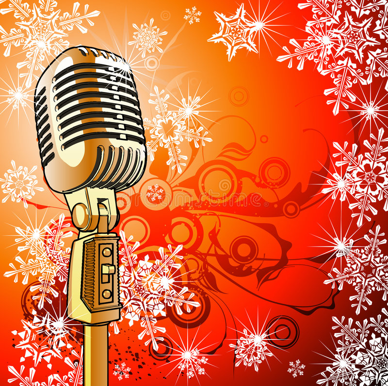 Uitstekende microfoon & sneeuwvlokken royalty-vrije illustratie