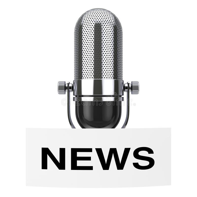 Uitstekende Microfoon met het Etiket van de Nieuwsmarkering het 3d teruggeven stock illustratie
