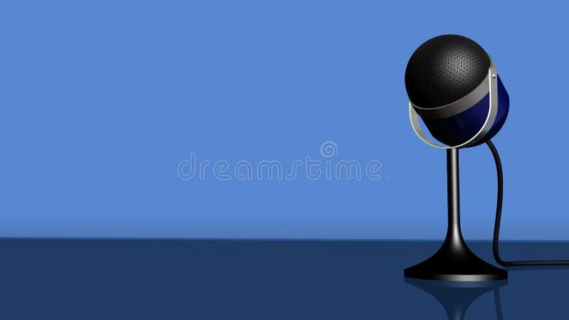 Uitstekende microfoon op een blauwe achtergrond stock illustratie