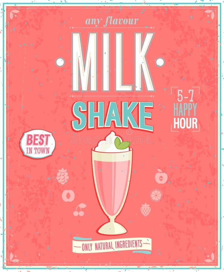 Uitstekende Milkshakeaffiche stock illustratie