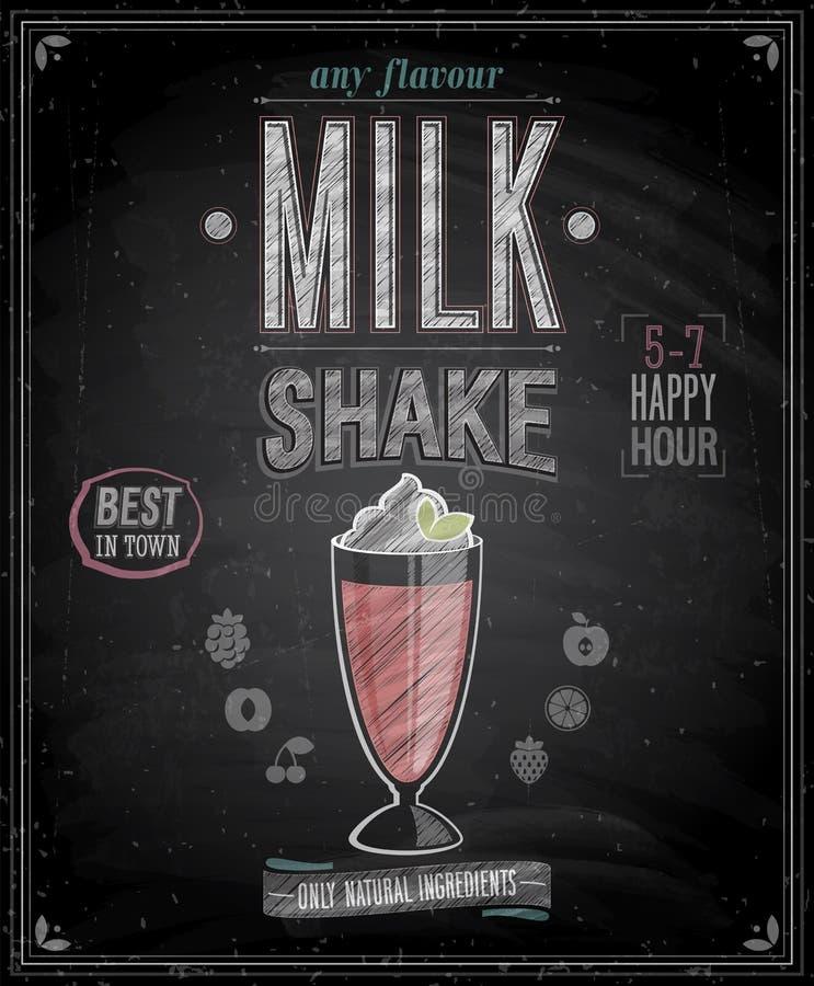 Uitstekende Milkshakeaffiche - Bord. stock illustratie