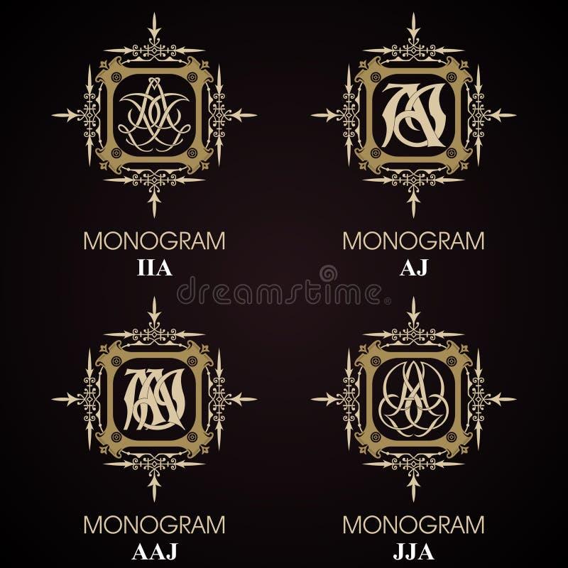 Uitstekende Monogrammen - 4 reeksen royalty-vrije illustratie