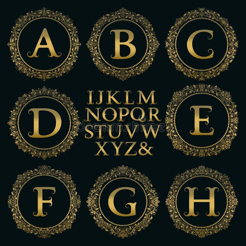 Uitstekende monogramuitrusting Gouden brieven en bloemen ronde kaders vector illustratie