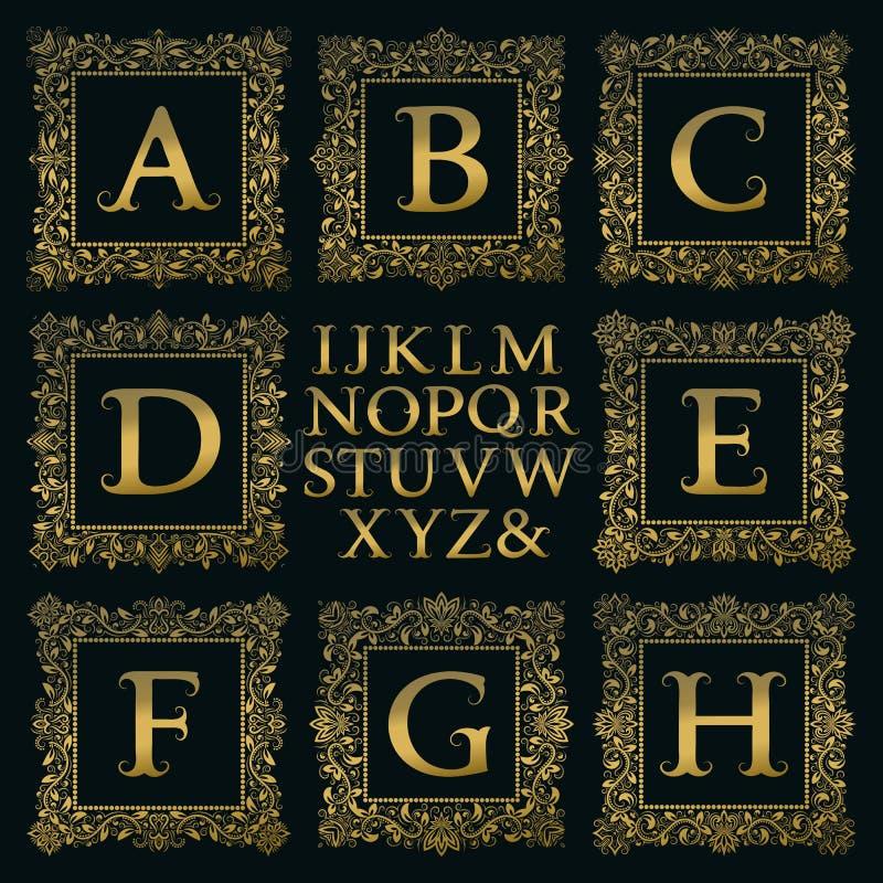 Uitstekende monogramuitrusting Gouden brieven en bloemen vierkante kaders stock illustratie