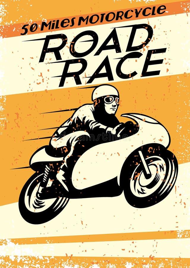 Uitstekende motorfiets het rennen affiche royalty-vrije illustratie