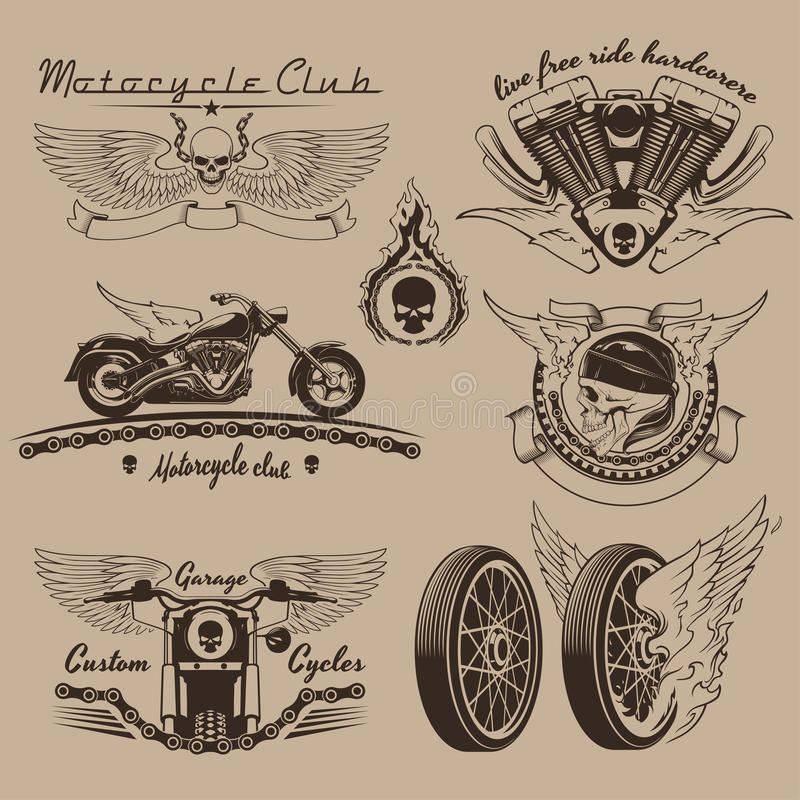 Uitstekende motorfietsetiketten royalty-vrije illustratie