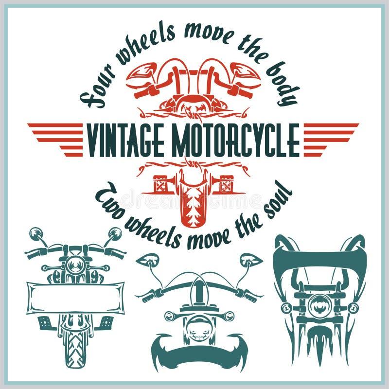 Uitstekende motorfietsetiketten, kentekens en ontwerp stock illustratie