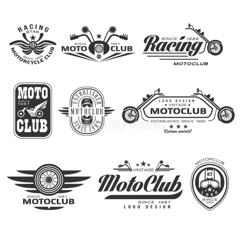Uitstekende motorfietsetiketten, kentekens en ontwerp vector illustratie