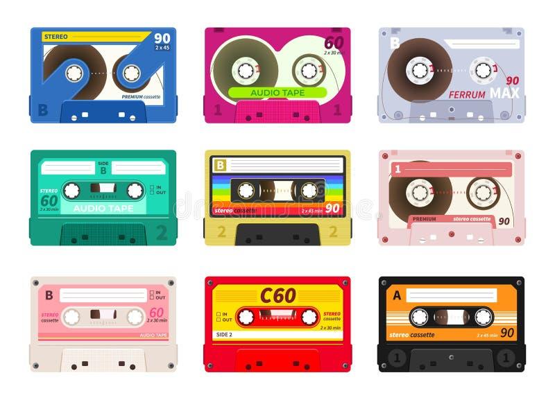 Uitstekende muziekcassettes Retro correcte band van DJ, de jaren '80 ijlt partij stereomengeling, de oude technologie van het sch stock illustratie