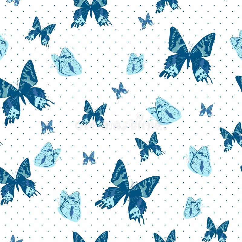 Uitstekende naadloze achtergrond met vlinders royalty-vrije illustratie