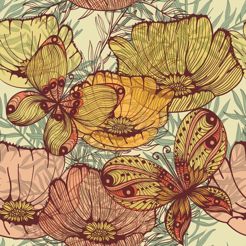 Uitstekende naadloze achtergrond met wilde bloemen en vlinders royalty-vrije illustratie
