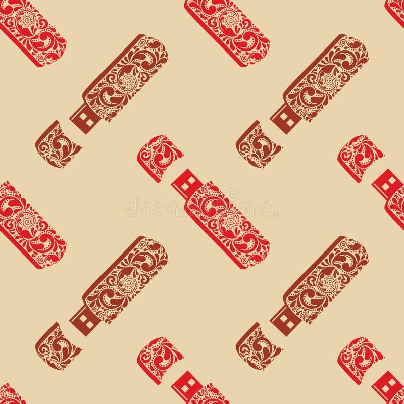 Uitstekende naadloze de flitsaandrijving van patroonusb. royalty-vrije illustratie