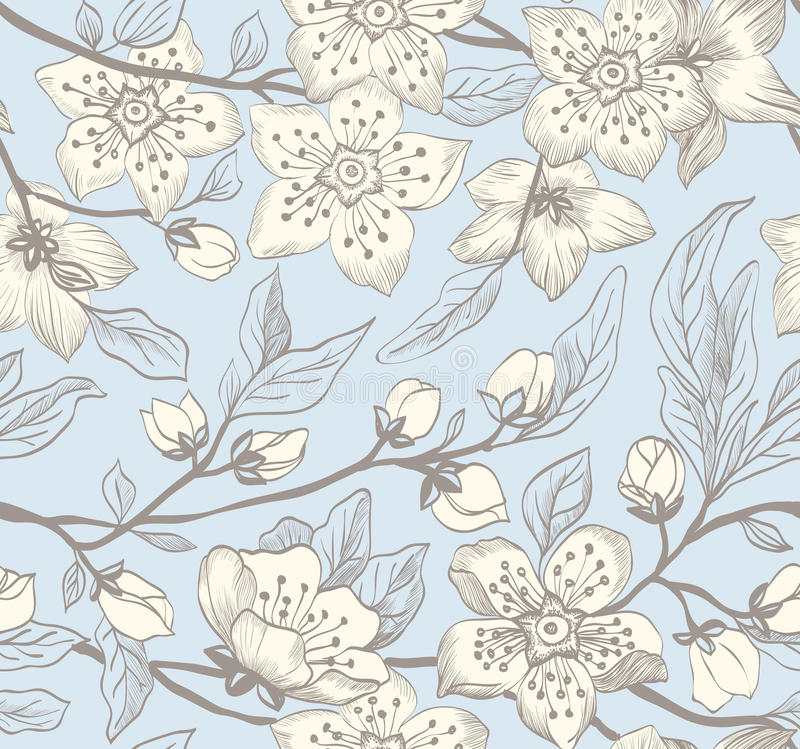 Uitstekende naadloze de lente bloemenachtergrond royalty-vrije illustratie