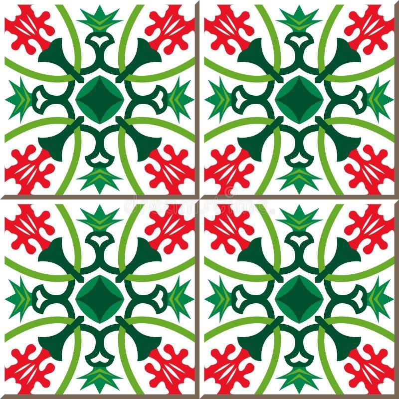 Uitstekende naadloze muurtegels van rode bloem groene kelk Portugese Marokkaan, stock illustratie