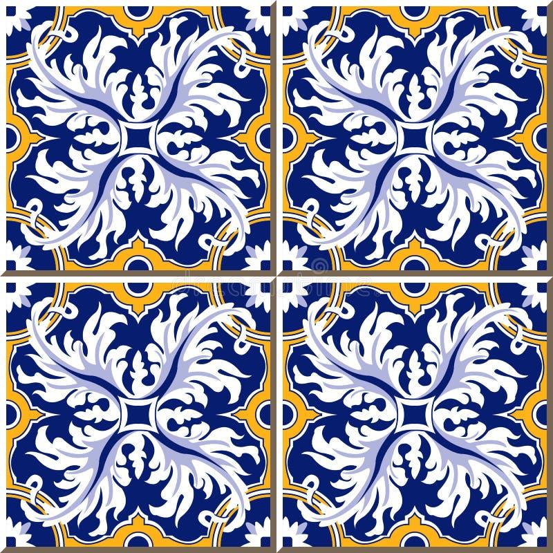 Uitstekende naadloze muurtegels van veer spiraalvormige ronde, Portugese Marokkaan, vector illustratie