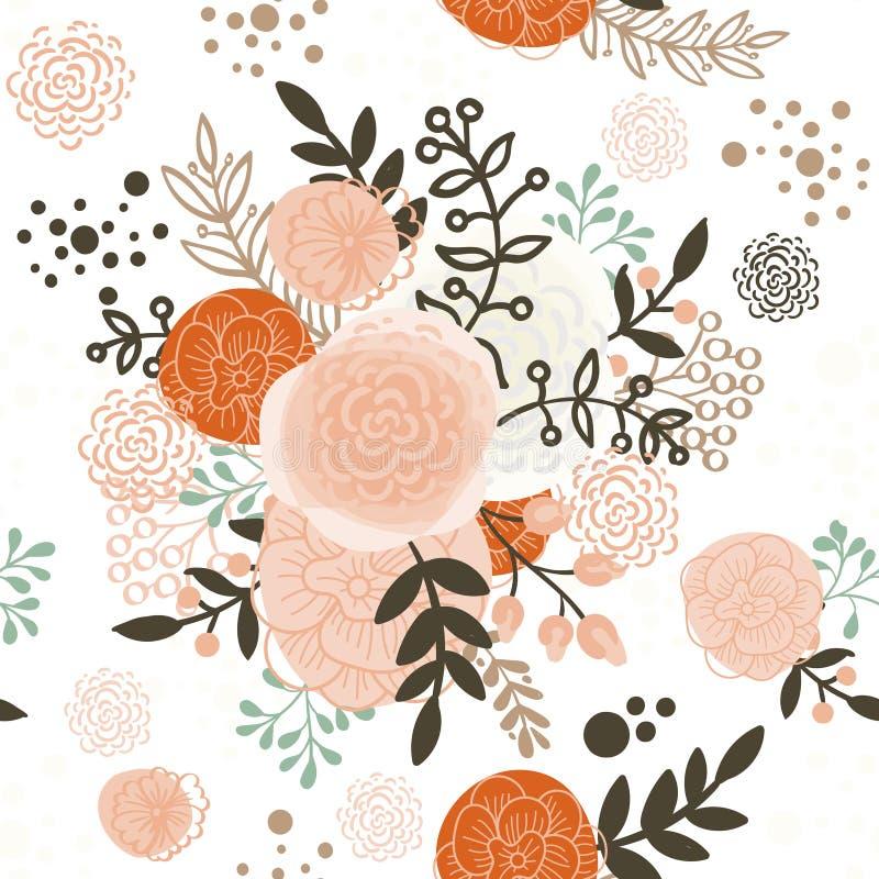 Uitstekende naadloze patroonhand getrokken bloemen stock illustratie