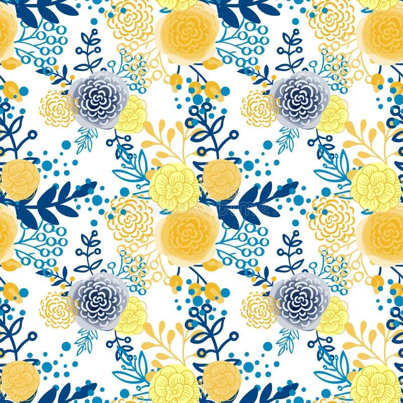Uitstekende naadloze patroonhand getrokken bloemen royalty-vrije illustratie