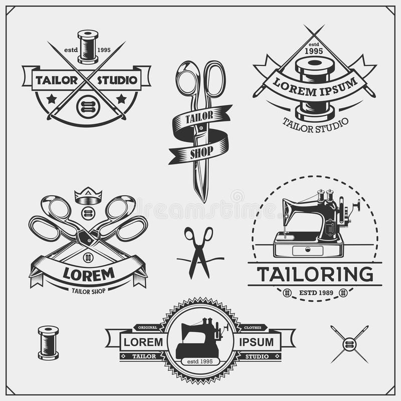 Uitstekende naaiende etiketten, kentekens en ontwerpelementen Reeks emblemen van KleermakersShop stock illustratie
