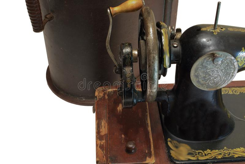 Uitstekende naaimachine voor zijn bruine gevaldekking stock afbeelding