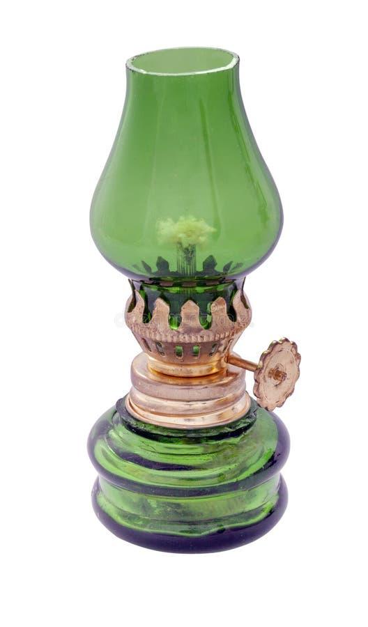 Uitstekende olielamp met groen glas stock fotografie