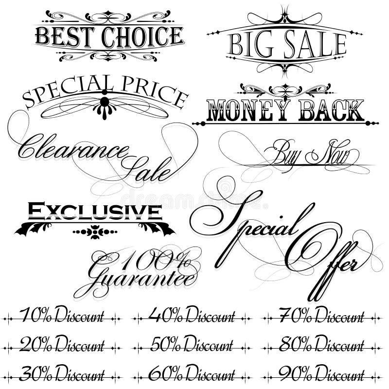 Uitstekende ontwerpelementen voor verkooptekst royalty-vrije illustratie