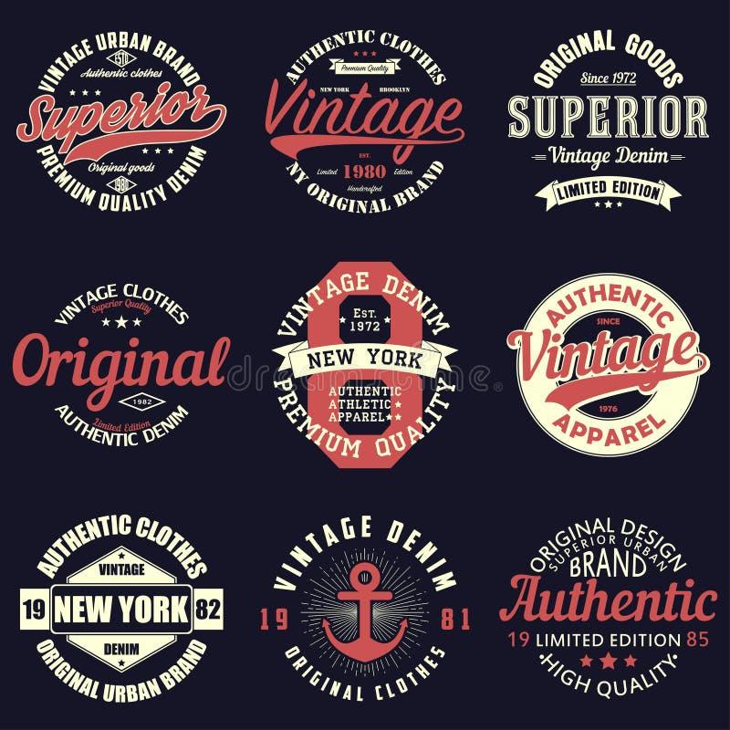 Uitstekende originele typografiereeks Retro druk voor t-shirtontwerp Grafiek voor authentieke kleding Inzameling van het kenteken royalty-vrije illustratie