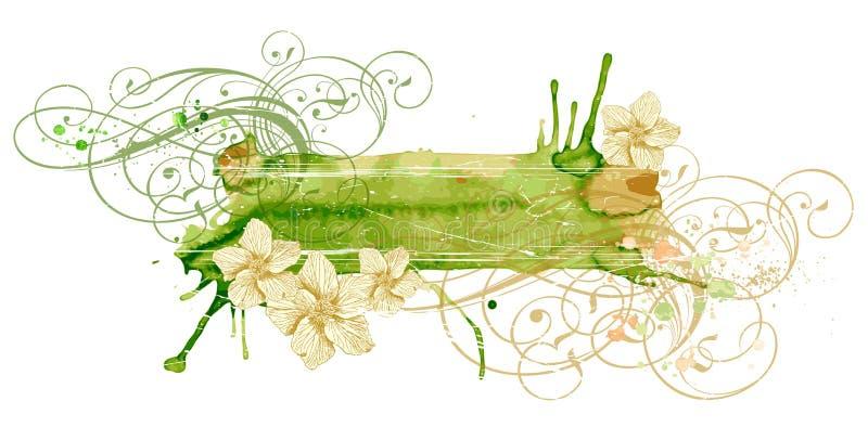 Uitstekende ornament & bloemen stock illustratie