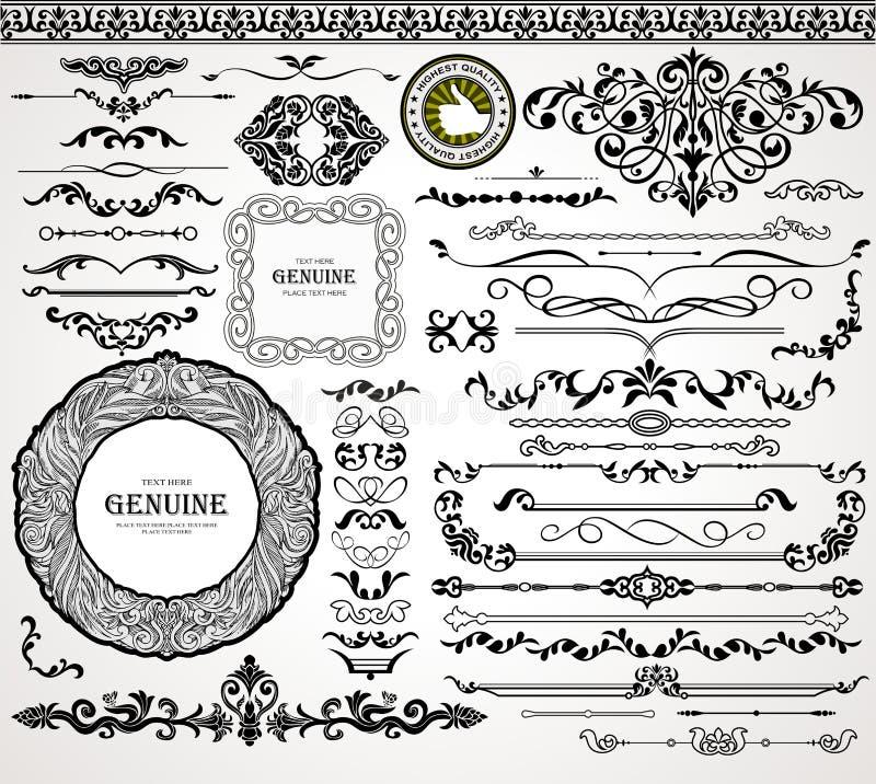 Uitstekende ornamenten en verdelers vector illustratie