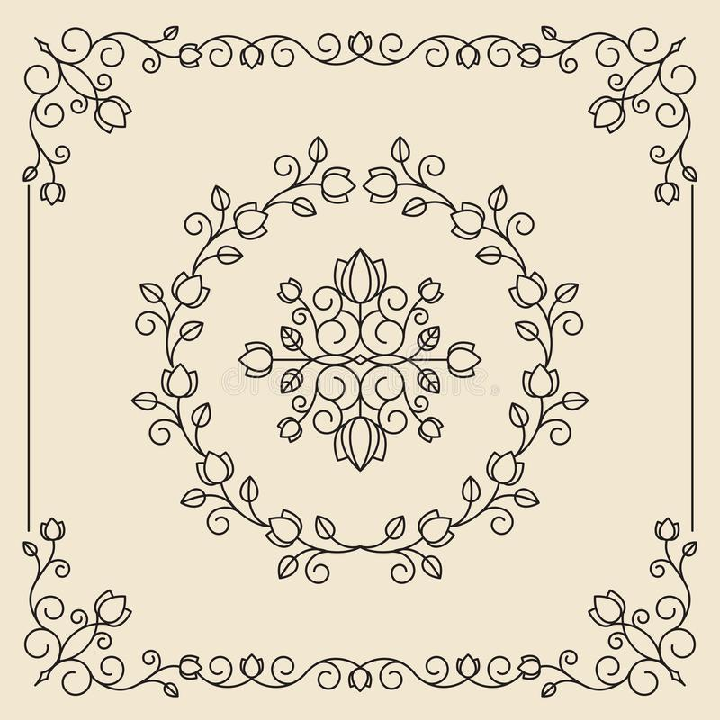 Uitstekende ornamenten en verdelers Geplaatste de elementen van het ontwerp Overladen Flor royalty-vrije illustratie