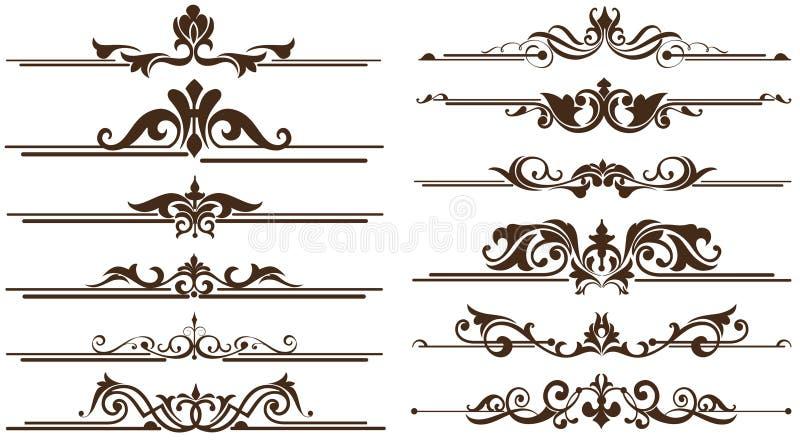 Uitstekende ornamentenhoeken, grenzenontwerp royalty-vrije illustratie