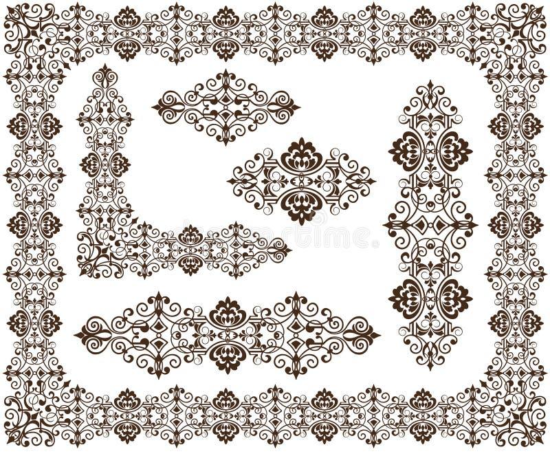 Uitstekende ornamentenkaders, hoeken, grenzenontwerp stock illustratie