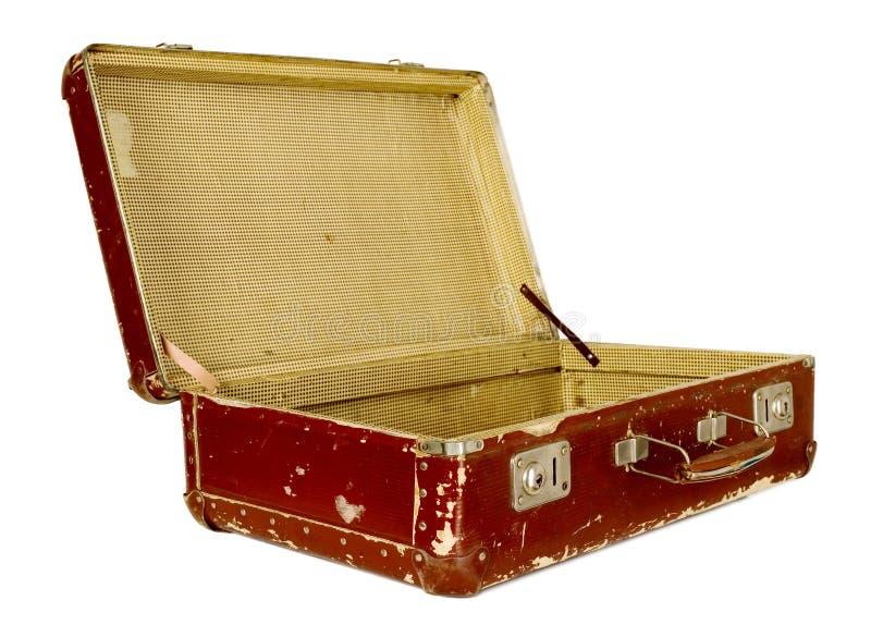 Uitstekende oude bruine koffer stock foto's