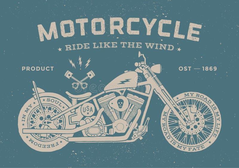 Uitstekende oude de schoolstijl van de rasmotorfiets affiche stock fotografie