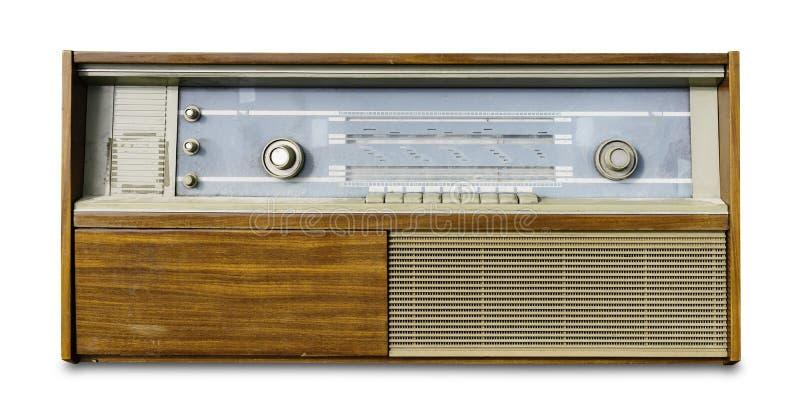 Uitstekende oude die radio op wit wordt geïsoleerd royalty-vrije stock fotografie