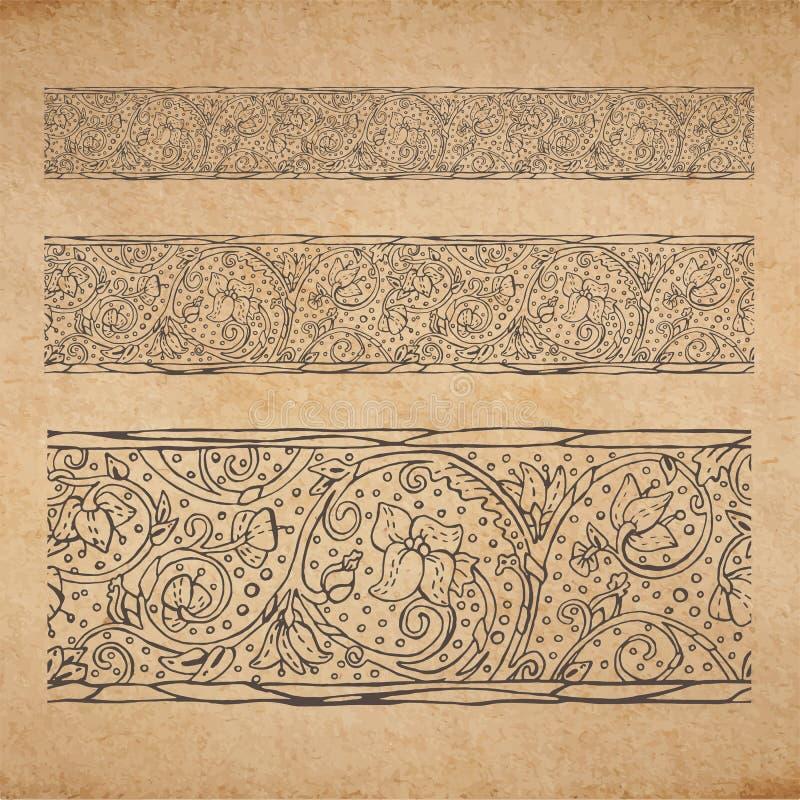 Uitstekende oude document textuurachtergrond met bloemen sier naadloze grens royalty-vrije illustratie