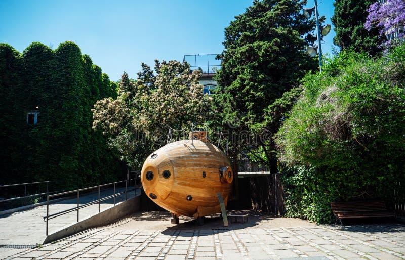 Uitstekende oude houten diepzee onderzeese Ictieo II royalty-vrije stock afbeelding