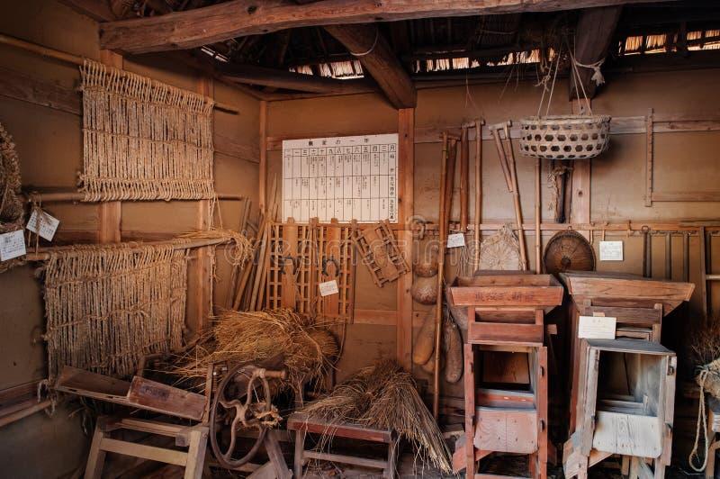 Uitstekende oude keuken in Boso Geen Mura Openluchtmuseum, Chiba, Japa stock foto's