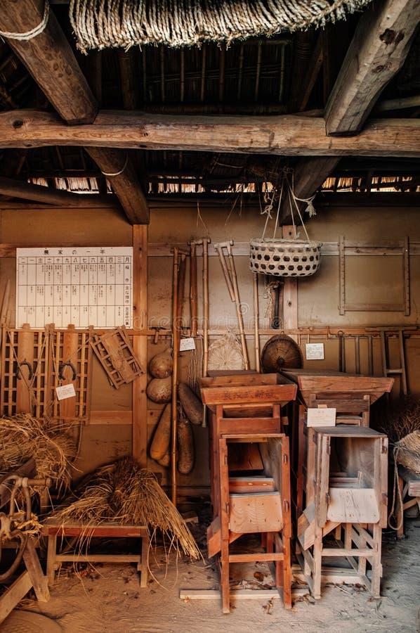 Uitstekende oude keuken in Boso Geen Mura Openluchtmuseum, Chiba, Japa royalty-vrije stock foto's