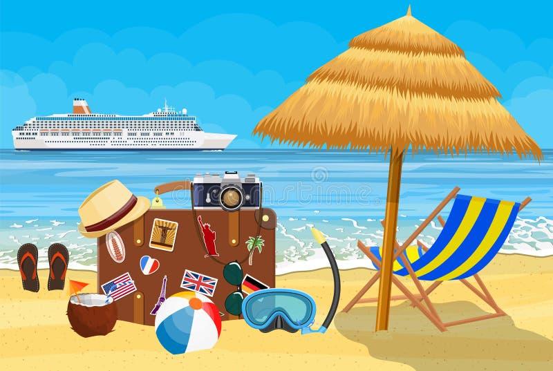 Uitstekende oude reiskoffer op strand stock illustratie