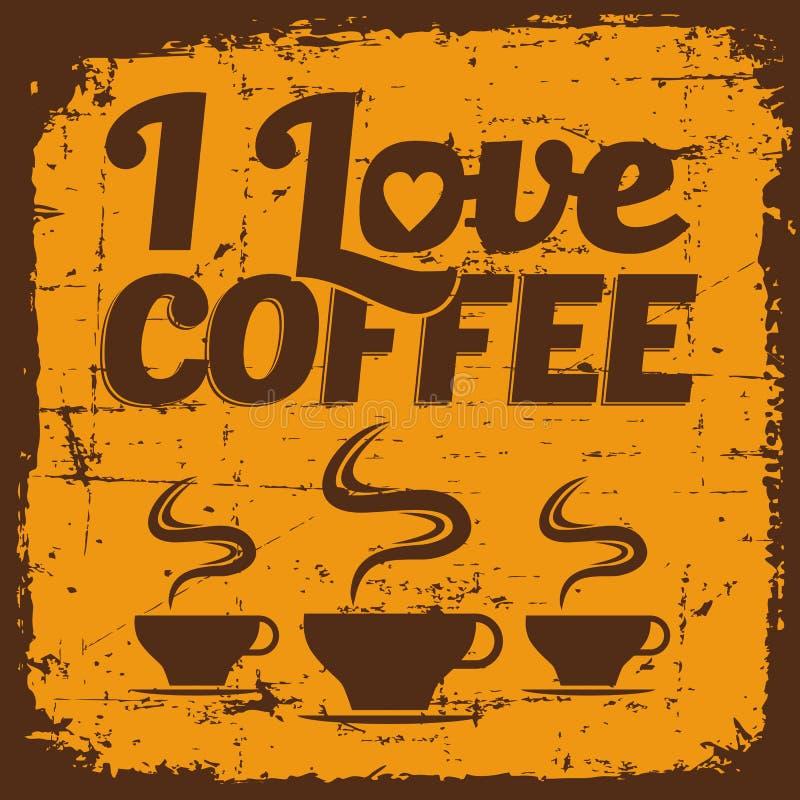 Uitstekende Oude Retro signage van het Koffieteken royalty-vrije illustratie