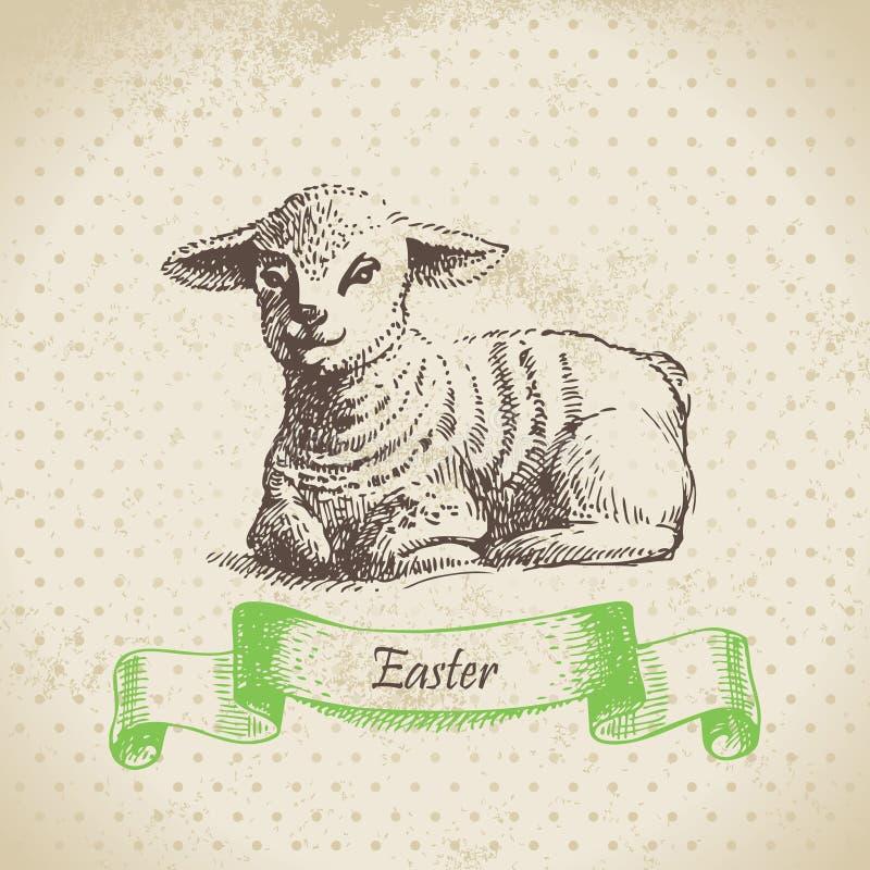 Uitstekende Pasen-achtergrond met lam vector illustratie