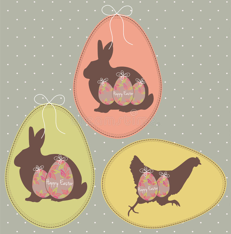Uitstekende Pasen-Kaarten met Eieren, Konijntjes en een Kip royalty-vrije stock foto's