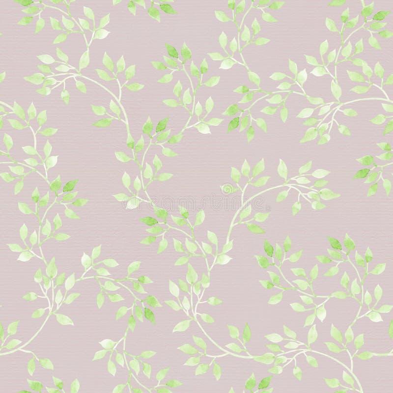 Uitstekende pastelkleurbladeren, bloemen Ditsy gedempt herhaald patroon Retro waterverf stock illustratie